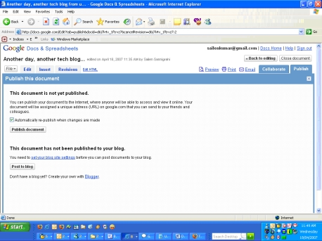 Google Doc Publish