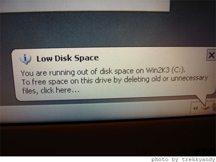 Low Disk Space Warning Removal in Windows