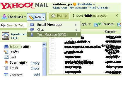 SMS Through Yahoo Mail