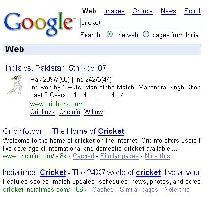 Google and Cricket