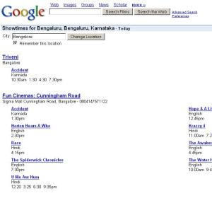 Results from Google Movie search