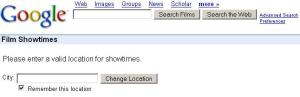 Google Film Showtime Search