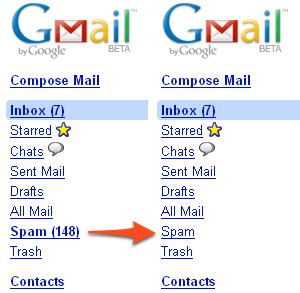 Hide your Spam count in Gmail