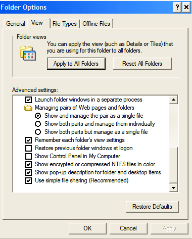 Disable Simple File Sharing on Windows