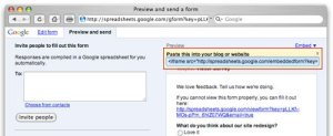 Embed Google Docs Form into your Blog or Website