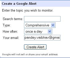 Google-Alerts-Creating an Alert