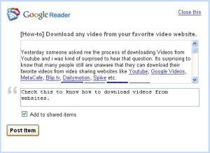Google Reader Link Sharing with a note