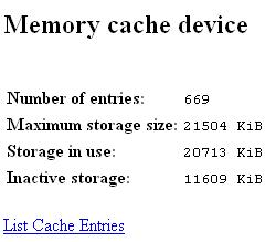 Memory Cache information obtained from Firefox