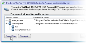 Process Details for USB Drive