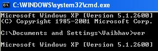 Using ver in Windows