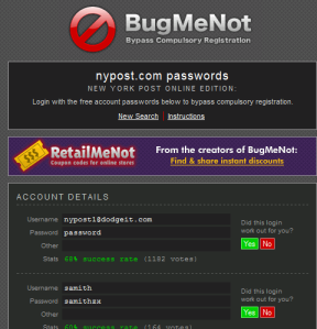BugMeNot-Password Page