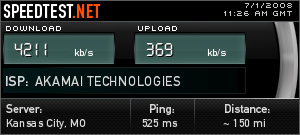 Speed test results can be shared over the internet