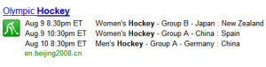 Search for hockey event in Olympics got easy
