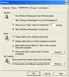 Windows Messenger Options Tab display
