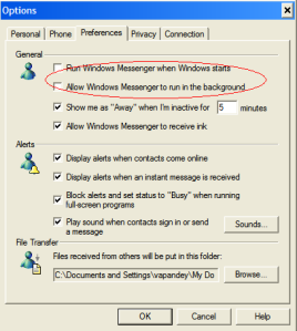 Disable auto startup for Windows Messenger