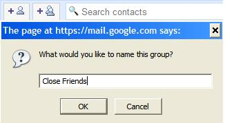 Name the new group in Gmail