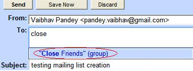 Gmail Auto Fills the new mail group name