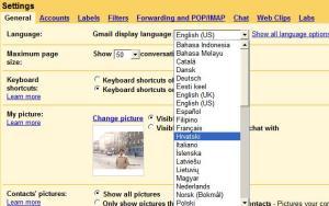 Change display language in Gmail