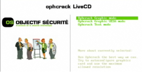 Computer boots up using the ophcrack live cd.