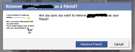 Confirm Friend Removal in facebook